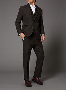 Brown Wool Mix Suit Trousers