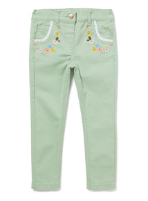 Green Floral Embroidered Jeans (9 months-6 years)