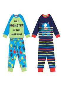 Kids Green Monster Pyjamas 2 Pack (9 months-5 years)