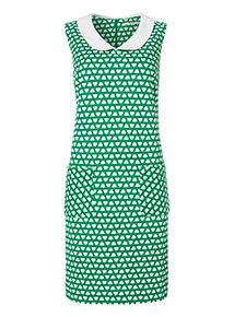 Green Heart Print Collar Shift Dress