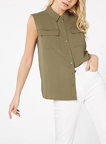 Khaki Sleeveless Utility Shirt