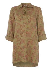 Khaki Printed Linen Tunic