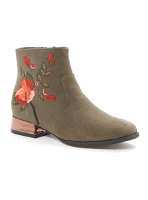 Khaki Embroidered Boots