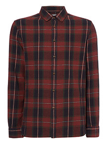 Dark Red Tartan Brushed Shirt