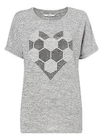 Grey Knit Look Sequin Heart Football T-Shirt