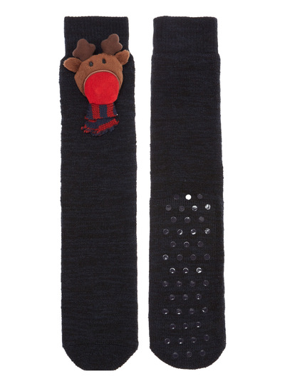 navy led light up reindeer slipper socks