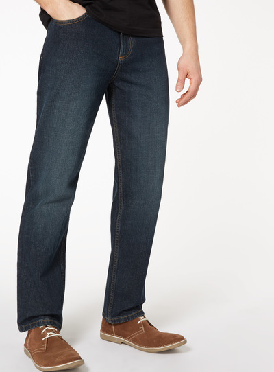 Mid Wash Denim Straight Leg Jeans With Stretch