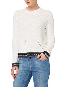 Online Exclusive Cream Crochet Trim Open Back Jumper