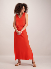 Online Exclusive Coral Double Layer Maxi Dress
