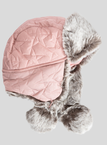 Pink Quilted Faux Fur Trapper Hat (3-13 Years)