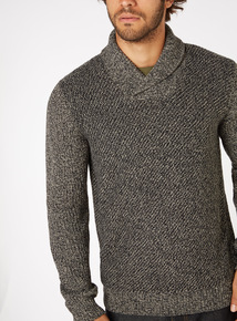 Brown Shawl Neck Jumper