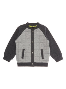 Grey Textured Bomber Jacket (0 - 24 months)