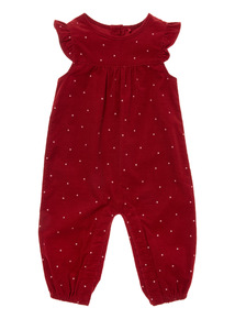 Burgundy Cord Dungaree (0-24 months)