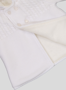 White Hooded Pram Cardigan (0-24 months)
