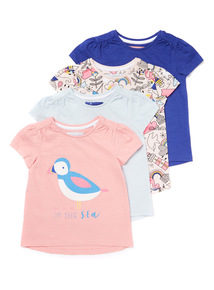 4 Pack Multicoloured Print T-shirts (9 months-6 years)