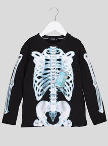 Halloween Black Skeleton Long Sleeve T-Shirt (3-14 years)