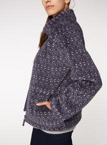 Pattern Zip-Through Fleece
