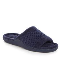 Navy Fluffily Memory Foam Open Toe Slippers