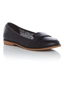 Black Snake Print Loafers