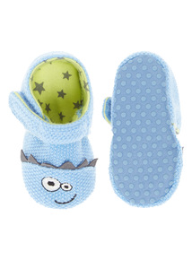 Boys Blue Monster Knitted Slippers (0-18 months)