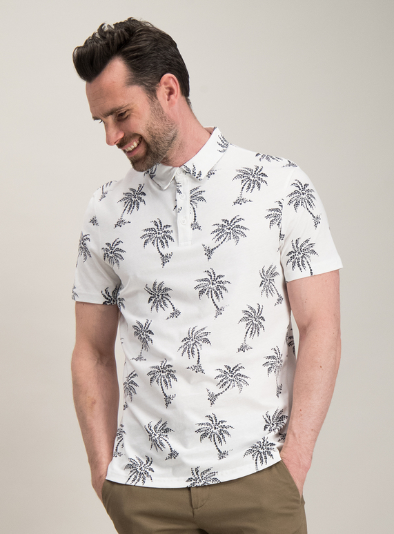 8dce72bc Menswear Off-White & Charcoal Palm Tree Print Polo Shirt | Tu clothing