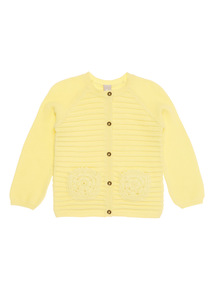 Girls Yellow Ribbed Cardigan (9 months - 6 years)