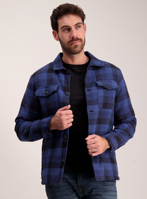 Cobalt Blue Checked Fleece Lined Overshirt