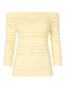 Yellow Dot Bardot Jumper