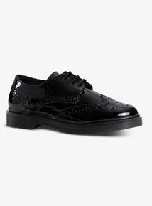 Black Patent Brogue School Shoes (Infant 10-4)