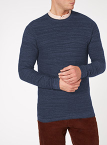 Navy Ottoman Ribbed Texture Jumper