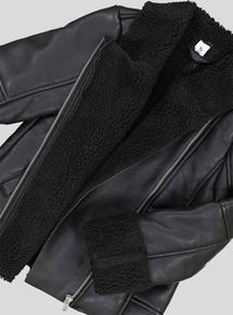 Black Faux Leather Biker Jacket (3-14 years)