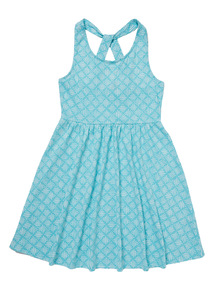 Turquoise Geometric Pattern Dress (3-12 Years)