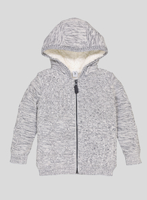 Oatmeal Borg Lined Hooded Cardigan (9 months - 6 years)