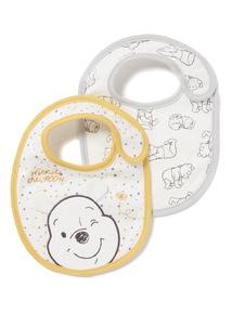 2 Pack White Disney Winnie the Pooh Bibs
