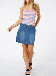 Denim Scallop Mini Skirt