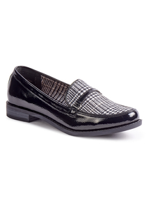 Sole Comfort Black Tweed Check Loafer