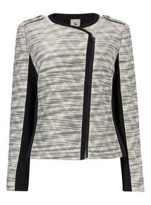 Monochrome Jacquard Biker Jacket