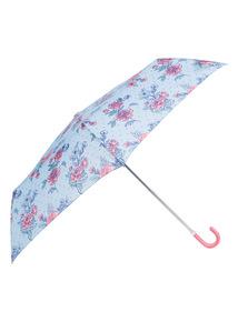 Multicoloured Floral Print Crook Handle Umbrella