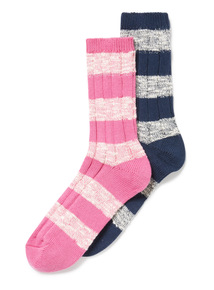 2 Pack Multicoloured Stripe Boot Socks