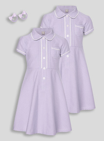 Lilac Classic Gingham Dress With Bobble 2 Pack (3 - 12 years)