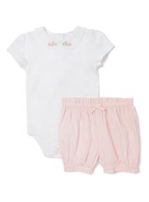 2 Piece Pink Jersey Body and Bloomer Set (Newborn-12 months)