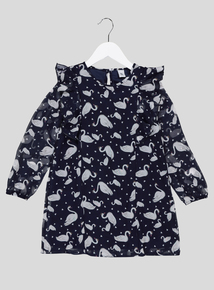 Navy Swan Print Chiffon Dress (9 months - 6 years)