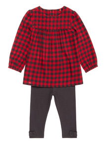Red Check Woven Top and Legging Set (0-24 months)