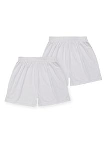 Unisex White Football Shorts 2 Pack (3-12 years)