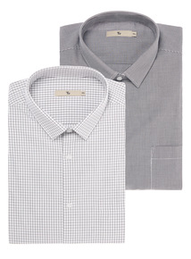 Black Check And Mini Gingham Slim Shirts 2 Pack