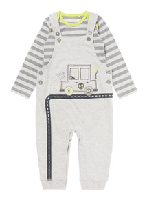 Grey Jersey Dungaree And Bodysuit Set (0-24 months)