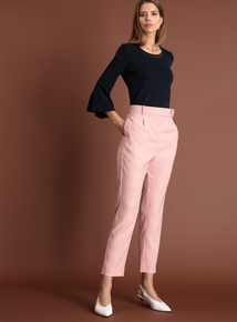 Premium Pink Satin Stripe Tapered Trousers