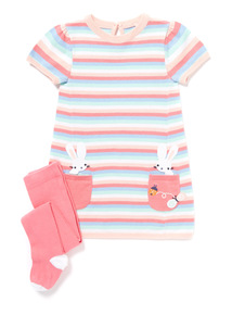 Pink Stripe Knitted Dress and Tights (0-24 months)