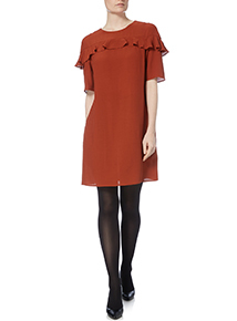 Brown Ruffle Front Shift Dress