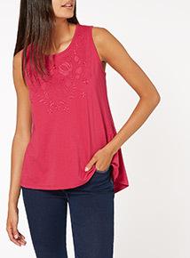 Pink Plain Lace Vest